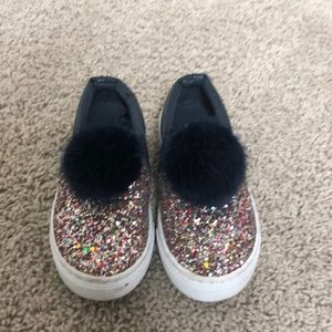 Glitter Pom Tennis Shoes